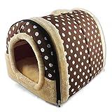 ANPI 2 en 1 Casa y Sofá para Mascotas, Lavable a Máquina Marron Puntos Blanco Casa Nido Cueva Cama de Perro Gato Puppy Conejo Antideslizante Plegable Suave Calentar Con Cojín Extraíble, Medio