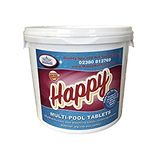 Happy Hot Tubs 5kg Multifunctional Large Chlorine Tablets 200g for Swimming Pools with Algaecide Clarifier Stabiliser