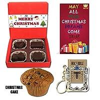 BOGATCHI Xmas Premium Gift Set, Xmas Plum Cake (40g), Xmas Dark Chocolates Box + Free Merry Xmas Card + Free Holy Bible Keychain