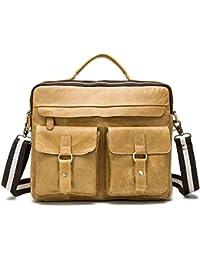 Dethan Men's Vintage Genuine Leather Yellow Brown Briefcase Laptop Bag Messenger Shoulder Bag