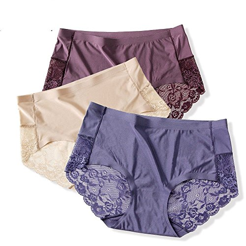 HZH Lace side, a type of unmarked underpants, summer ice silk lady waist waist pants, big size, thin cotton crotch 3 dress.
