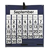 Monthly Calendar 43-Pocket Chart with Day/Week Cards, Blue, 25 x 28 1/2, Sold as 1 Each