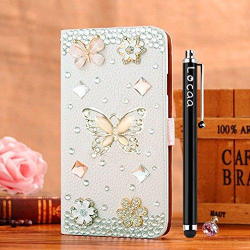 Locaa(TM) Pour Apple IPhone 7 IPhone7 (4.7 inch) 3D Bling Case Coque 3 IN 1 étuis Cuir Qualité Housse Chocs Étui Couverture Protection Cover Shell Phone Amour Love [Générale 1] paon Doré papillon