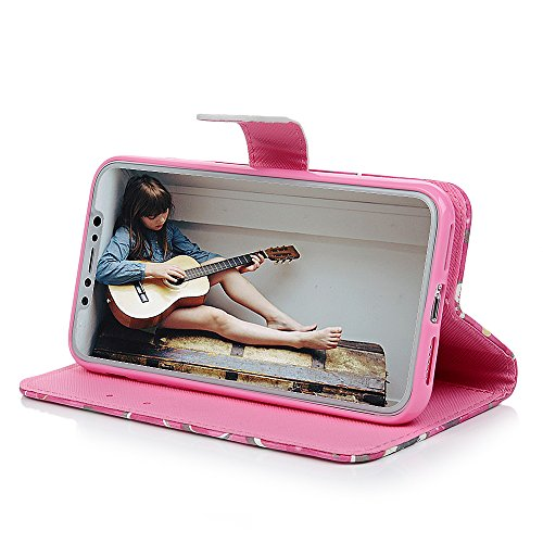 iPhone X Flipcase YOKIRIN Wallet Case für iPhone X Handyhülle 3D Effekt Farbmalerei Flip Case Hardcase Schutzhülle Ledertasche PU Leder Huelle Stand Halter Innere TPU Handytasche Schale Bookstyle Port Rosa Narcissus