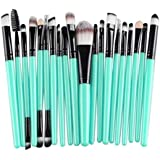 Hihool 20 Pcs Makeup Brush Set Tools Make-up Toiletry Kit Wool Make Up Brush Set (Black)
