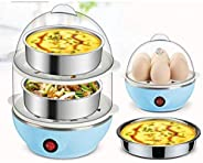 TOOVUS Multi-Function Electric 2 Layer Egg Boiler Cooker&Steamer, Egg Boiler Electric Automatic Off, Doubl