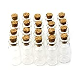 Yalulu 20 Stück 6-20 ml Mini Klein Klarglas Gläser Glasfläschchen mit Korkverschluss Glasflaschen Fläschchen mit Korken für DIY, Kunsthandwerk (10ml,22*50mm)