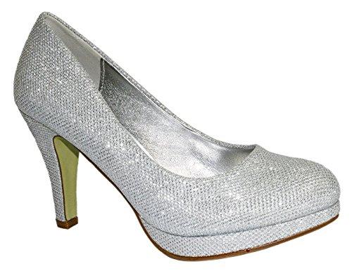Elara Damen Pumps Spitze Pastell High Heels Schuhe Strass Glitzer Elegant Peep-Toes Hochzeit Größe 36, Farbe Silber
