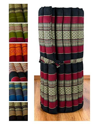Kapok Rollmatte in 190cm x 75cm x 4,5cm der Marke Asia Wohnstudio; Liegematte bzw. Yogamatte, Thaikissen, Thaimatte als asiatische Rollmatratze (schwarz / rot)