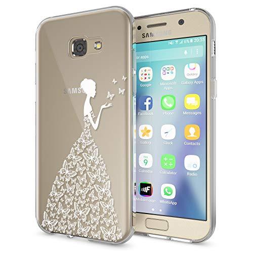 NALIA Handyhülle kompatibel mit Samsung Galaxy A5 2017, Slim Silikon Motiv Case Cover Schutz-Hülle Dünn Durchsichtig Etui Handy-Tasche Backcover Transparent Bumper, Designs:Butterfly Princess (Samsung Galaxy A5 Slim Case)