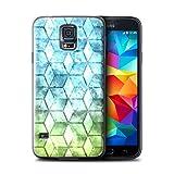 Stuff4 Hülle / Hülle für Samsung Galaxy S5 Mini / Blau/Grün Muster / Bunte Würfel Kollektion