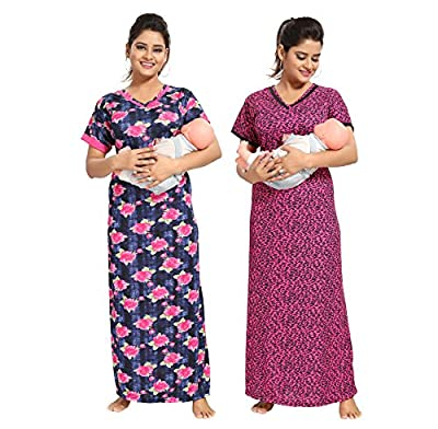 TUCUTE Women Beautiful Chetah Print with Invisible Zip + Denim Base with Floral Print Feeding/Maternity / Nursing Nighty/Night Gown/Night Dress/Nightwear (Free Size) (Pack of 2 Pcs)