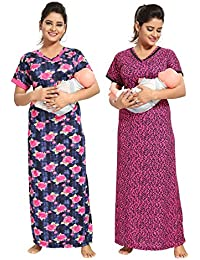 TUCUTE Women Beautiful Print with Invisible Zip+Floral Print/Maternity/Nursing Nighty Pack of 2