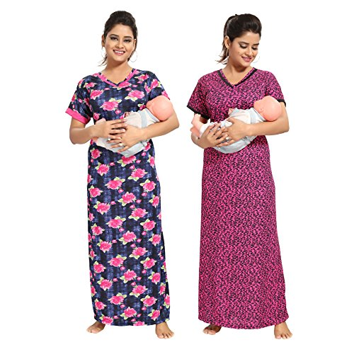 TUCUTE (1555 Women Beautiful Chetah Print Invisible Zip + Denim Base Floral Print Feeding/Maternity / Nursing Nighty/Night Gown/Night Dress/Nightwear (Free Size) (Pack of 2 Pcs) (Pink) 1555