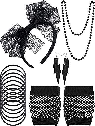 80 Jahre Fancy Kostüm Set, Spitze Stirnband Neon Ohrringe Fingerlose Fischnetz Handschuhe Schwarze Perle Halskette Silikon Armbänder für 80 Party und Halloween