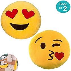 """JZK 2 x Peluche relleno Emoji amortiguador golpe beso + Amortiguador Emoji amor ojos del corazón, 32cm 12"""" Emoji almohada emoticon cojín almohada Emoji regalo accesorio de juguete"""