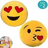 JZK 2 Rotondo cuscino decorativo divano cameretta 32CM emoji cuscino bacio + occhi cuore cuscino faccina emoji emoticon whatsapp giocattolo peluche emoji