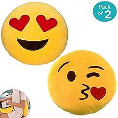 Idea Regalo - JZK 2 Rotondo cuscino decorativo divano cameretta 32CM emoji cuscino bacio + occhi cuore cuscino faccina emoji emoticon whatsapp giocattolo peluche emoji