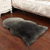Kloius 15.7 x 23.6inch Bending Shape Rug Solid Fluffy Carpet Bedroom Living Room Décor