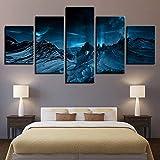 mmwin Lienzo Arte de la Pared Decoración para el hogar Funciona 5 Piezas Azul Aurora Borealis Montaña de Nieve Moderna HD Impreso Escena Nocturna Fotos