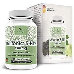 Vita 1 Griffonia 5-HTP 200 mg 180 Kapseln (6 Monate Vorrat) natürlicher Serotonin Booster, 80 g