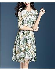 Verano vestido de seda estampado manga larga cintura cintura delgada de cinco minutos,S
