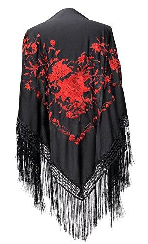 La Señorita Foulard cintura chale manton de manila Flamenco di danza nero rosso Large