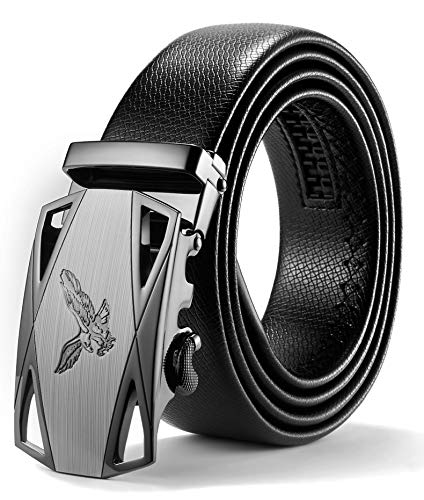 ITIEZY Men's Leather Belt, Brown Black Leather Belts with Automatic Buckle 35mm Width