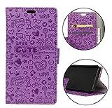 Sunrive Hülle Für DOOGEE BL5000,Magnetisch Schaltfläche Ledertasche Schutzhülle Etui Leder Case Handyhülle Taschen Schalen Handy Tasche Lederhülle(Karikatur Prägung lila)+Gratis Eingabestift
