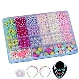Ketten Basteln,Bunte Perlen Kinder Kunststoff Armband Basteln für Mädchen in PVC Box als Geschenk für Halsketten Armbänder Stirnband Ring 800pieces