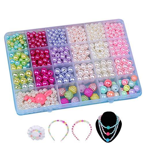 Ketten Basteln,Bunte Perlen Kinder Kunststoff Armband Basteln für Mädchen in PVC Box als Geschenk für Halsketten Armbänder Stirnband Ring 800pieces (Geschenk-box Ring Armband Und)