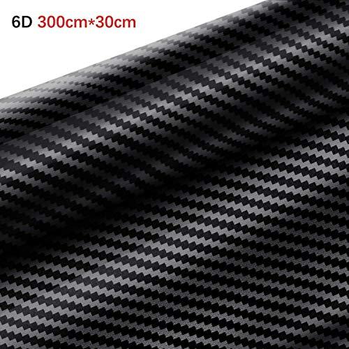 Yilyln 6D Carbon Folie, selbstklebend Autofolie aus Carbon Vinyl, flexibel Auto Shutz Folie(300cm*30cm)