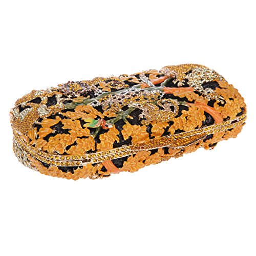 Bonjanvye Lovely and Trendy Style Forest Animal Pattern Clutch Purse Black Orange