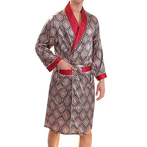 Premium Herren Silky Dressing Gown - Sommer Knielangen Bademantel Dünne Pyjamas langärmelige Nachtwäsche Leichte Elegante Kimono