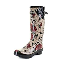 Shoestore Womens Wyre Skull and Roses Print Wellies Festival Wellington Boots