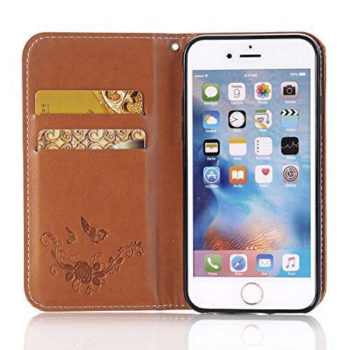 Rose Blumen geprägtes Muster Premium PU Leder Geldbörse Fall, Folio Flip Stand Case Cover mit Halter & Card Slots & Magnetverschluss für iPhone 6 & 6s ( Color : Gold ) Brown