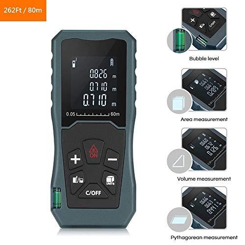 POSMA LRF-J080 Digitaler Laser-Entfernungsmesser, 80 m, hinterleuchtetes LCD-Laser-Messgerät, Lasermessgerät mit Einzeldistanz, kontinuierlich, Fläche, Volumenmessung und Pythagorea-Modi