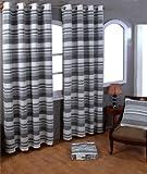 Homescapes handgewobener Vorhang Morocco grau weiß 2er Set Ösenvorhang 170 x 230 cm (Breite x Länge) Dekoschal gestreift 100% reine Baumwolle