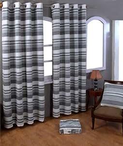 Homescapes Rideaux à œillets Rayures Gris et Blanc 140 x 140 cm Collection Stripes Morocco