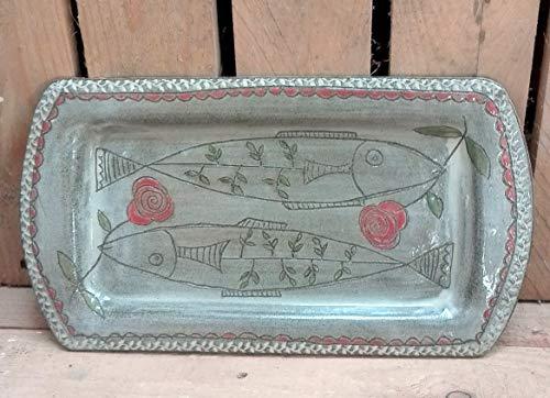 """Servierplatte, Vorspeisenplatte, Kuchenplatte\""""Fisch mit Rose\"""""""