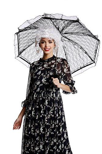 DRESS ME UP - YS-001B Parasol Spitze Sonnenschirm Barock Rokoko Viktorianisch Biedermeier Schwarz...