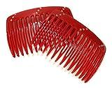 niavida 2 x Einsteckkamm einfarbig Rot mit Strass-Steinen - Steckkamm hergestellt in Deutschland