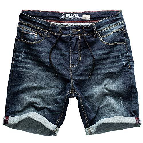 Sublevel Hombre jogg Pantalones cortos Shorts de Jeans Bermudas Denim Pantalón Chándal Cargo joggjeans Vintage Pantalón Cargo Used Look - Azul Oscuro Denim _ 27, 36W