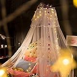 OldPAPA Prinzessin betthimmel, Krone moskitonetz, Europäische schmiedeeisen tagesdecke moskito Vorhang Vorhang dekorative Krone Netting gardinen, 1.8m Bett - Weiß