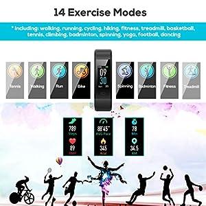 Pulsera de Actividad, LATEC Pulsera Inteligente Pantalla Color Reloj con Pulsómetro Impermeable IP68 Monitor de Ritmo Cardíaco Podómetro Deportiva Fitness Tracker para Mujer Hombre Niños
