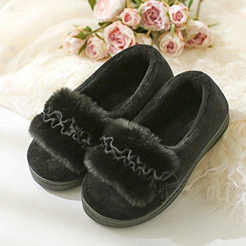 DogHaccd pantofole,Autunno Inverno peluche di fagioli di soia calzatura boutique home soggiorno con delizioso Pacchetto spessa con caldo cotone scarpe donna pantofole di cotone Nero2