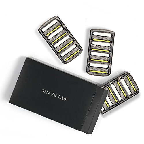 SHAVE-LAB - 12 Rasierklingen - Rasierer mit Trimmer (12x P.6+1 Klingen mit 6 Lamellen und Barttrimmer - für Herren - Grooming - Gleitstreifen mit Aloe Vera & Lavendel) -