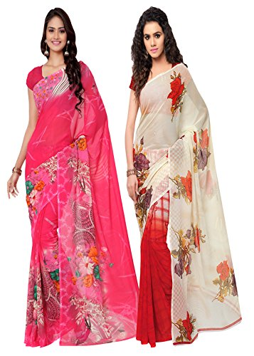 ANAND SAREES MULTI COLORED GEORGETTE PRINTED SAREES (COMBO PACK)  available at amazon for Rs.499