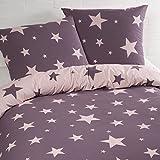 Aminata – Bettwäsche Sterne 135x200 cm Baumwolle + Reißverschluss zum Wenden Sternenmotiv Sternchen Stars Lila Violett Rosa Pink Wendebettwäsche 2-teiliges Bettwäscheset Ganzjahr Normalgröße Mädchen
