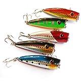 qianzhi 5 Unids/Lote Popper Señuelo De La Pesca 3D Eyes Bait Top Agua Flotante Poper Bait Bass Crankbait Gancho De Pesca Aparejos De Pesca